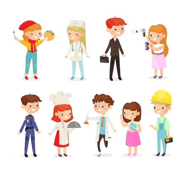 Kinder verschiedene berufe. doktor, baumeister, koch, polizist und maler, chemiker kinder im cartoon