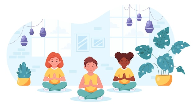 Kinder verschiedener nationalitäten meditieren im lotussitz yoga für kinder