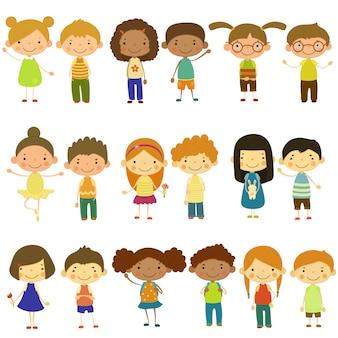 Kinder verschiedener nationalitäten und lebensstile illustration im flachen stilsatz
