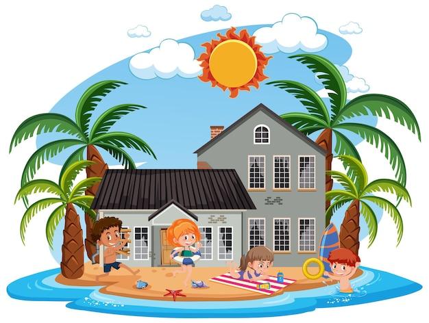 Kinder vor altem strandhaus