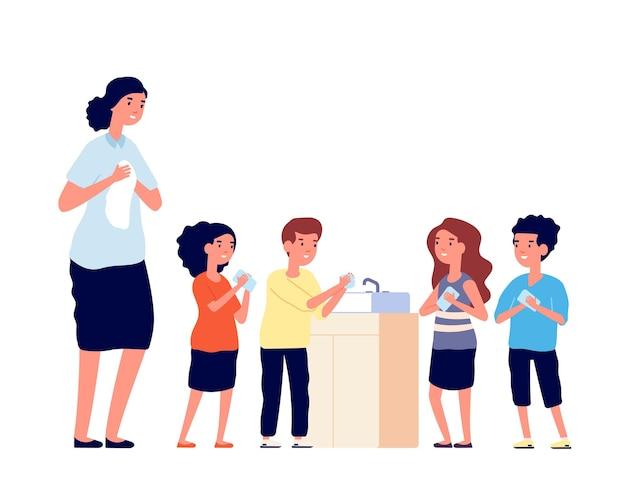 Kinder waschen sich die hände. schulkinder reinigen schmutzige hand im waschbecken. schutz vor viren oder keimen, hygiene für mädchen und jungen