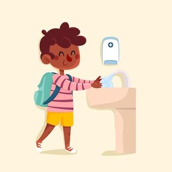 Kinder waschen sich in der schule die hände