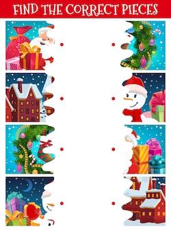 Kinder weihnachten puzzle, finden sie das richtige stück spiel. kinderlabyrinth mit weihnachtskranzverzierungen, verziert mit girlandenhäusern und verpackten weihnachtsgeschenken, weihnachtsmann- und schneemann-comicfiguren
