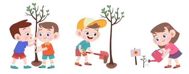 Kinder, welche die baumvektorillustration lokalisiert pflanzen