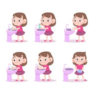 Kinder, welche die handvektorillustration lokalisiert waschen