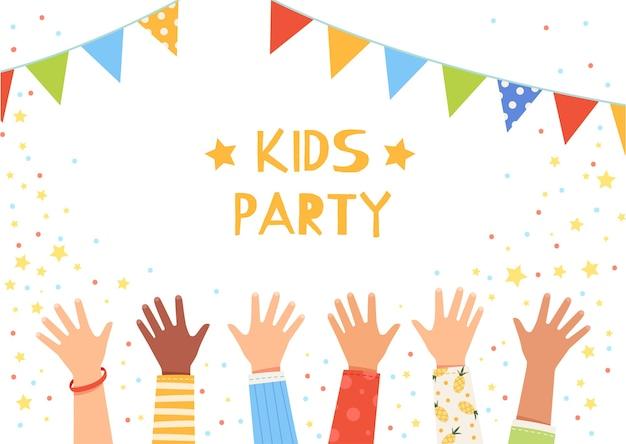 Kinder winken auf einer party mit fahnen mit den händen. kinderhände erhoben. das konzept eines kinderurlaubs und einer glücklichen kindheit. cartoon flach