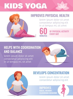 Kinder yoga infografik set mit koordination und balance symbole cartoon
