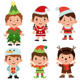 Kinder zeichentrickfigur objekt set weihnachtskostüm