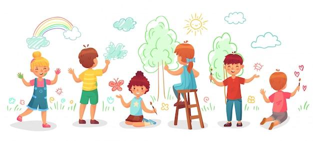 Kinder zeichnen an der wand. farbmalereien des gruppenabgehobenen betrages der kinder auf wänden, kinderfarbenkunst-karikaturillustration