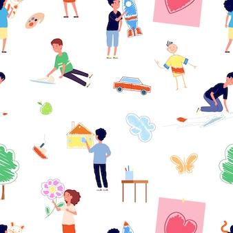 Kinder zeichnen. junge maler, kinder-kindergarten-aktivität. flacher junge mädchen malerei tierschiff flugzeug natur bilder vektor nahtlose muster. illustrationsmalerzeichnung, junges kind, malerin