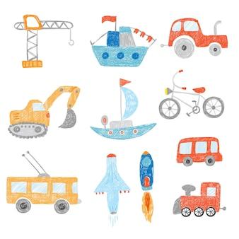 Kinder zeichnen. kinder malen transportautos traktoren schiff flugzeug spielzeug gekritzel hand gezeichnete sammlung. kindergekritzelbus und automobil, bunte bildbaggerillustration