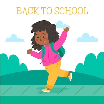 Kinder zurück zur schule illustration gezeichnet