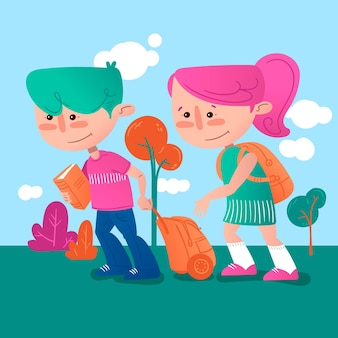 Kinder zurück zur schule illustration handgezeichnet