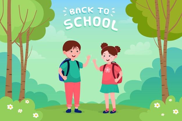 Kinder zurück zur schule illustration