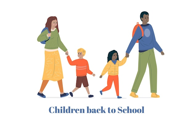 Kinder zurück zur schule mit den eltern