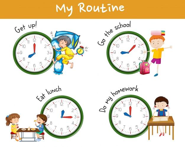 Kinderaktivitäten zu verschiedenen tageszeiten