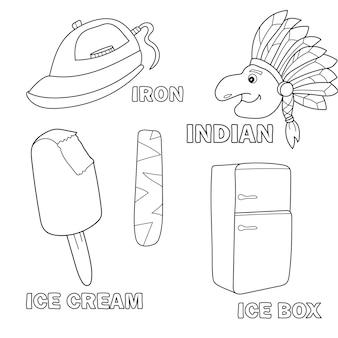Kinderalphabet-malbuchseite mit umrissenen cliparts. buchstabe i - indisch, bügeleisen, eis, kühlschrank - eisbox