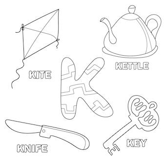 Kinderalphabet-malbuchseite mit umrissenen cliparts. buchstabe k. arbeitsblatt für kinder im vorschul- und grundschulalter