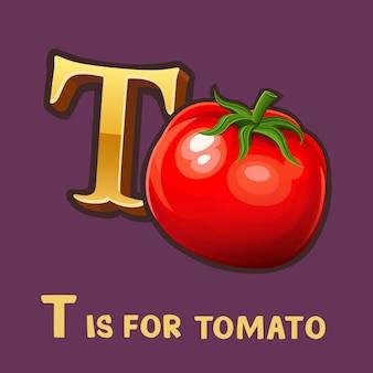 Kinderalphabetbuchstabe t und tomate