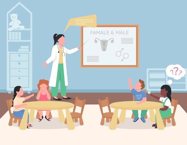 Kinderarzt, der vorschulkinder in flacher farbe unterrichtet. klasse zum thema gesundheitswesen. kindergarten-lektion 2d-zeichentrickfiguren mit lehrer in weißer medizinischer uniform