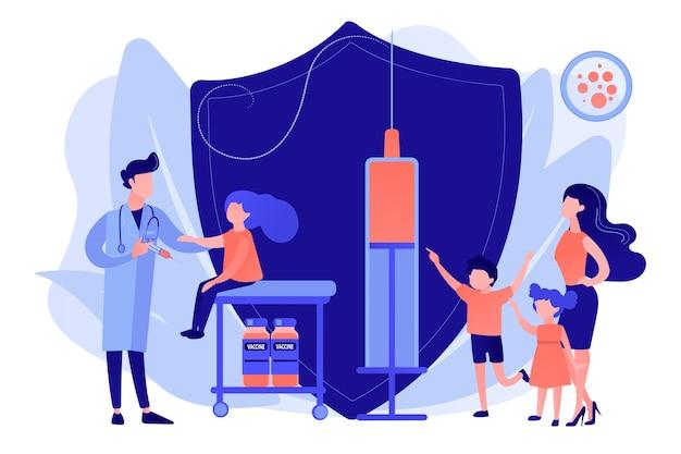 Kinderarzt gibt mädchen injektion. die impfung von jugendlichen und jugendlichen sowie die impfung älterer kinder verhindern, dass ihre kinder an krankheiten erkranken. isolierte illustration des rosa korallenblauvektorvektors