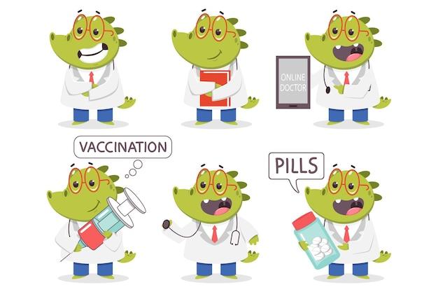Kinderarzt krokodilkarikatur lustige medizinische zeichen gesetzt lokalisiert auf einem weißen hintergrund.