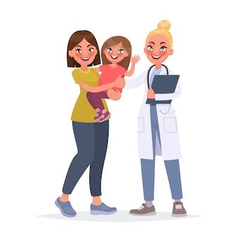 Kinderarzt. mutter mit einem kind bei einem empfang mit einem kinderarzt
