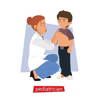 Kinderarzt stethoskop hört auf das kind.