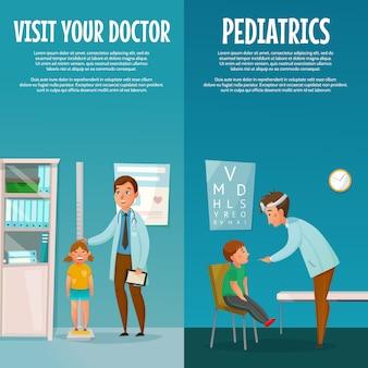 Kinderarzt und kind vertikale banner