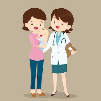 Kinderarzt und mutter mit baby