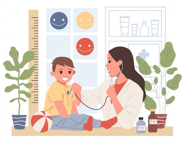 Kinderarzt untersucht kleinen patienten