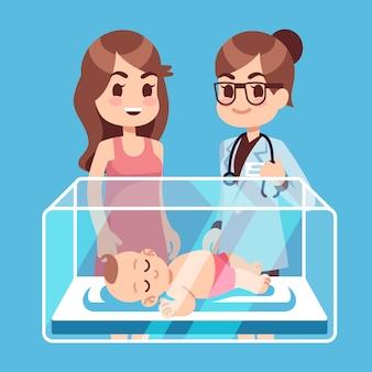 Kinderarztdoktor, mutter mit kleinem neugeborenem baby innerhalb des inkubatorkastens im krankenhaus