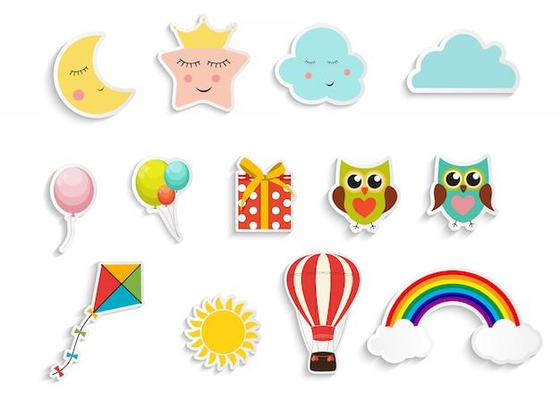 Kinderaufkleber mit luftballons, geschenkbox-eule, stern, wolke, drachensammlungssatz illustration