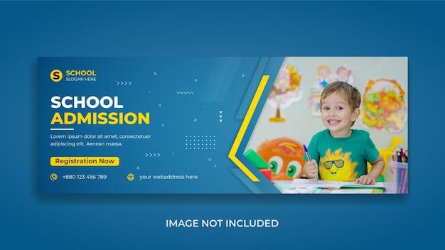 Kinderaufnahme zurück zur schule social media facebook-timeline-cover-vorlage und web-banner
