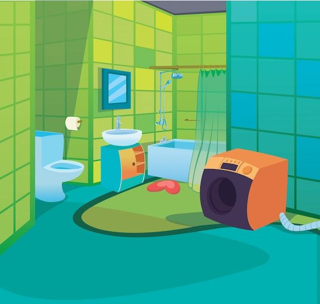 Kinderbadezimmer-innenkarikatur-kinderart-hintergrund