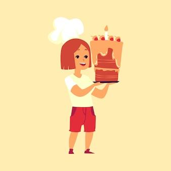 Kinderbäcker - süßes kleines mädchen in der kochmütze, die einen großen kuchen hält. karikaturfigur des glücklichen kinderkochs, die dessertgebäck mit geburtstagskerze - illustration präsentiert