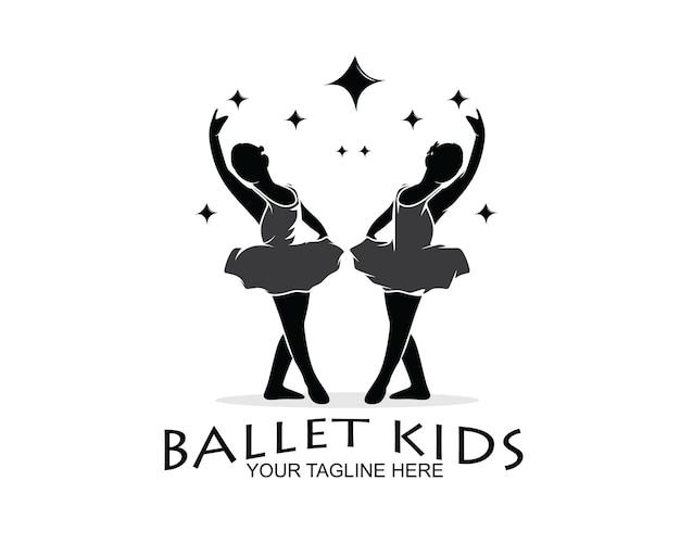 Kinderballett-silhouette-design-logo