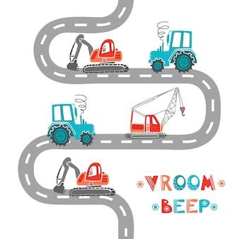 Kinderbaumaschinen bagger traktorkran fährt die straße entlang