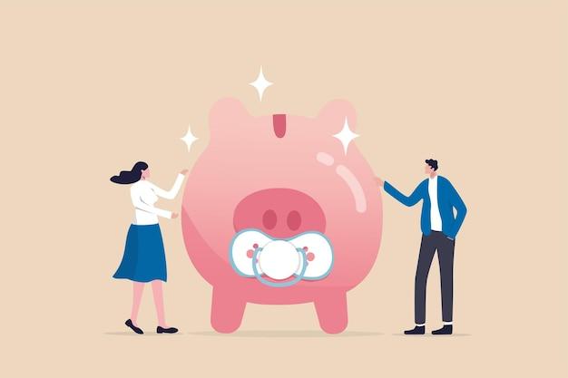 Kinderbetreuungskostenplanung, ausgaben für ein baby- oder finanzbudget für kinderkonzept, intelligenter neuer vater und mutter der eltern mit baby-sparschwein mit beißring-metapher für einsparungen für kinder.