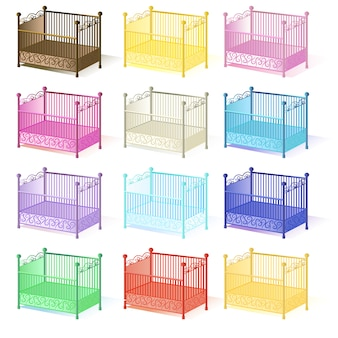 Kinderbett, illustrationssatz von kinderbetten in verschiedenen farben