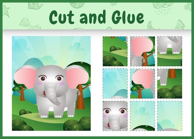Kinderbrettspiel ausschneiden und kleben mit einem niedlichen elefanten
