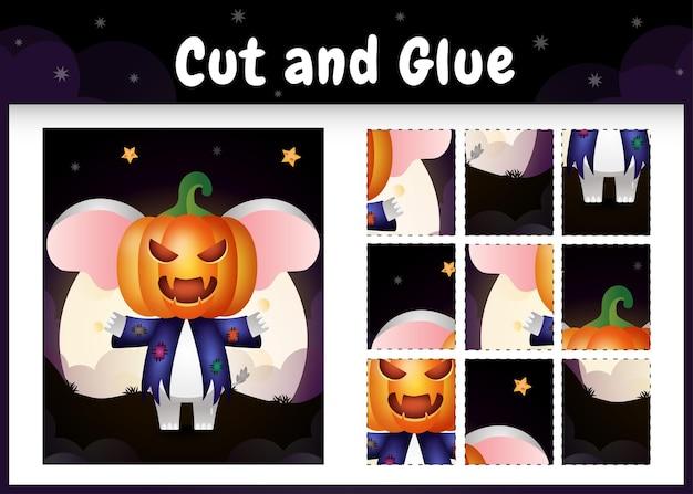 Kinderbrettspiel schneiden und kleben mit einem niedlichen elefanten im halloween-kostüm