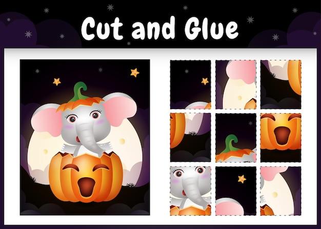 Kinderbrettspiel schneiden und kleben mit einem niedlichen elefanten im halloween-kürbis