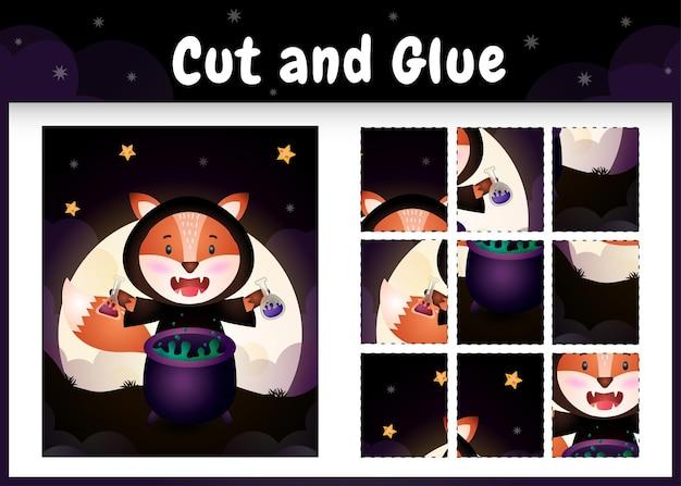 Kinderbrettspiel schneiden und kleben mit einem süßen fuchs im halloween-kostüm