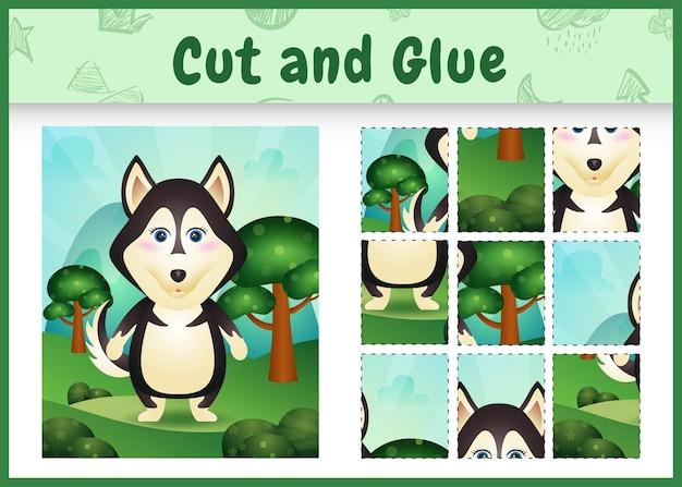 Kinderbrettspiel schneiden und kleben mit einem süßen husky-hund
