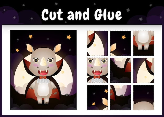 Kinderbrettspiel schneiden und kleben mit einem süßen nashorn mit halloween dracula kostüm