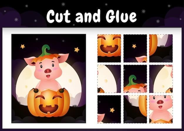 Kinderbrettspiel schneiden und kleben mit einem süßen schweinchen im halloween-kürbis