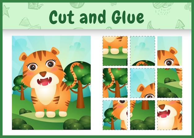Kinderbrettspiel schneiden und kleben mit einem süßen tiger
