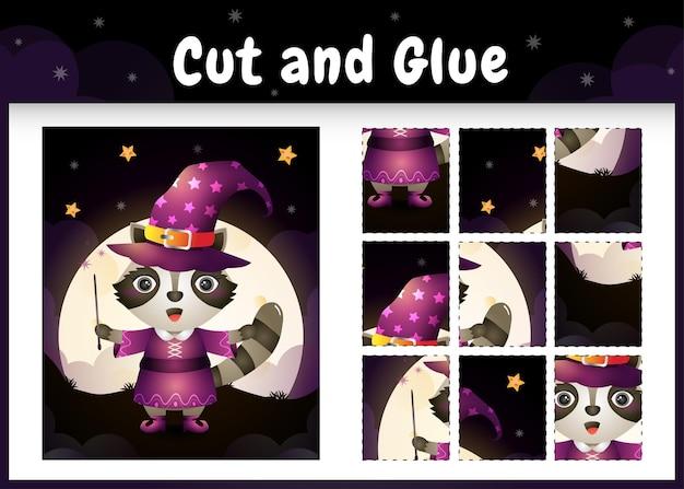 Kinderbrettspiel schneiden und kleben mit einem waschbärenhirsch im halloween hexenkostüm