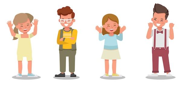Kindercharakter. präsentation in verschiedenen aktionen mit emotionen, die sich glücklich fühlen.